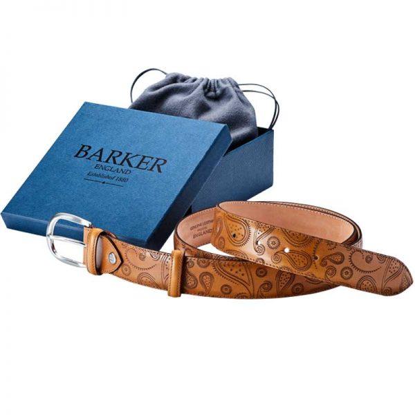 Barker Paisley Leather Belt Cedar-0
