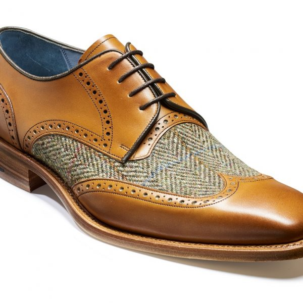 Barker Jackson Cedar Calf/Green Harris Tweed-0